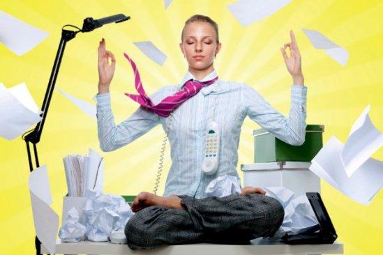 Meditation on the office desk