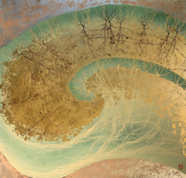 Грег Данн, Гиппокамп II,, 2010. Лак на композитном золоте и алюминие.